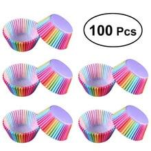 キッチンベーキング 100 個虹紙ケーキカップケーキ紙フィンパーティートレイ耐熱皿スタンドカップケーキケースライナーウェディングパーティー