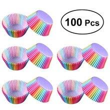 Assadeira de arco íris para cozinha, 100 peças, copo de bolo, papel para cupcake, bandeja para festas, suporte, forros de cupcake, festa de casamento
