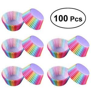 Image 1 - Assadeira de arco íris para cozinha, 100 peças, copo de bolo, papel para cupcake, bandeja para festas, suporte, forros de cupcake, festa de casamento
