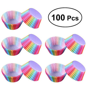 Kitchen Baking 100 Pcs Rainbow Paper Cake Cup Cupcake Paper Muffin Party Tray Bakeware Stands Cupcake Cases Liners Wedding Party(China)