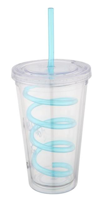 Transparente ventosa dupla camada de acrílico caneca de plástico isolado garrafa de suco milktea copo transparente venda quente na Coréia