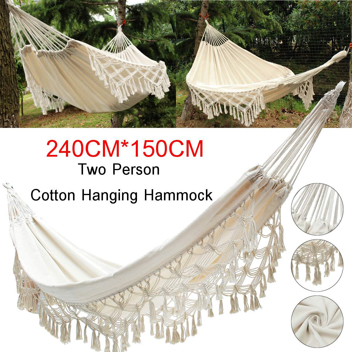 Möbel Double Person Cotton Hammock on Wood Frame Metal Loops for Hanging Garten & Terrasse