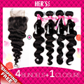 Loose Wave Virgin Hair Bundle Deals 4pc With Closure,7A Unprocessed Hair With Weave Closure 4x4,Human Hair Weft With Closure