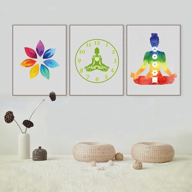 Colorful Lotus Flower Yoga Wall Art Print Poster Watercolor