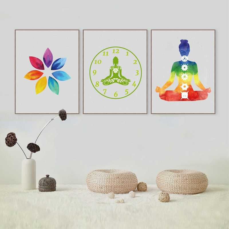 Colorful Lotus Flower Yoga Wall Art Print Poster , Watercolor Chakras Yoga Om Meditation Picture Canvas Painting Home Decoration
