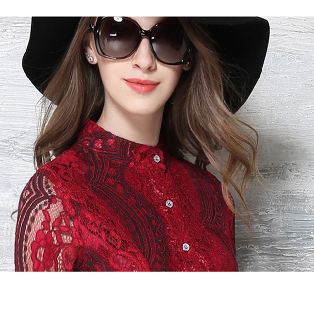 Robe Tunique Belted Fit And Flared Stand Collar Hollow Out Long Sleeve Lace Dress Women Jurken Vestidos Encaje Mujer 2016