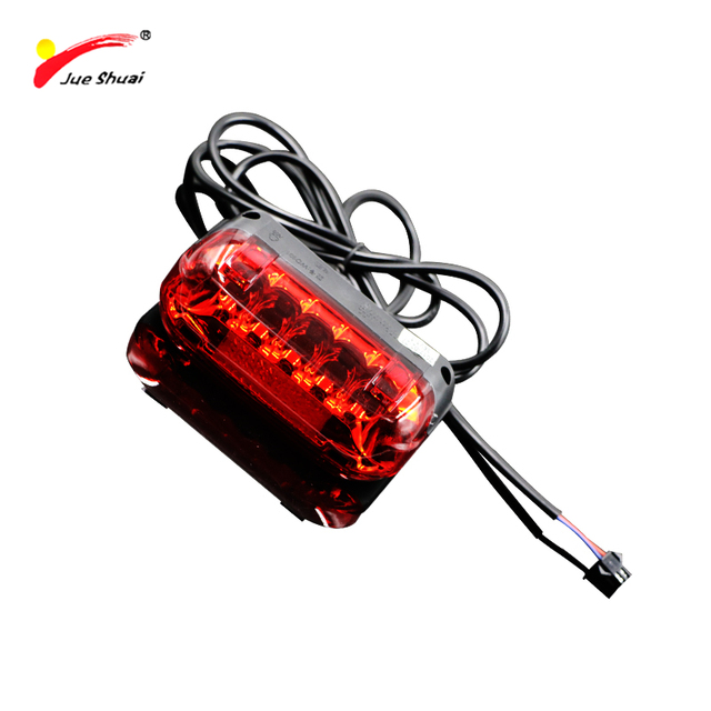 Jueshuai LED 36V tail light for Electric Bike Accessories flashing Bicycle lantern for Ebike Parts safety luces bicicleta