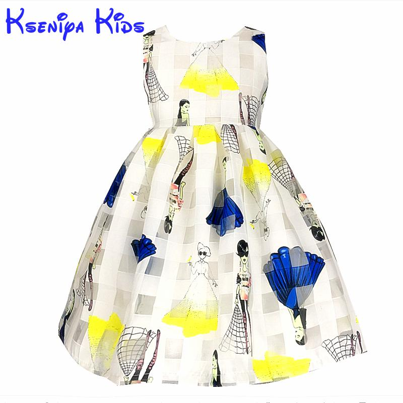 2016 Cotton Layer Baby Girl Dress Princess Summer White Cartoon Kids Dresses For Girls Clothes Sleeveless Net Yarn 2-10y Zk0816