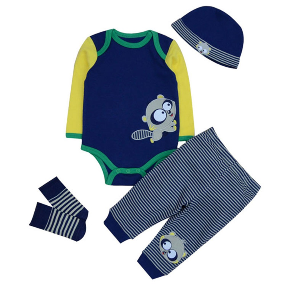 2017Newborn Baby Clothing Sets Boy Girl Baby Unisex Clothes Long Sleeves Rompers Cartoon Infant Bodysuits Hat&top&pants&socks