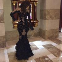 Luxury Black Prom gown With Long Sleeves Sheer Mermaid Formal dress Evening 2018 lace appliques illusion Mother Bride Dresses