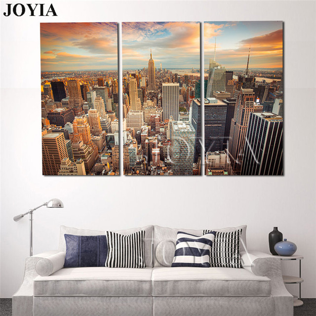 Large Modern City Wall Painting New York Sundown Canvas Art Print 3 Piece  NYC Cityscape Big