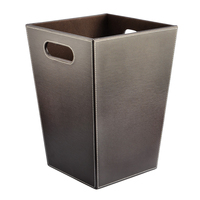 Home Kitchen Office Cabinet Trash Can Square Shape Solid Color PU Wastebasket Paper Basket Trash Organizers Dustbin Garbage Bin