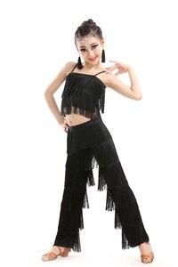 Image 4 - Latin dans elbiseleri için satış balo salonu artı boyutu Fringe püskül takım elbise pantalonları pullu Fringe Salsa Samba kostüm çocuk çocuk kız