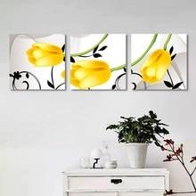 Современное украшение дома без рамы 3 шт. модульная Цветочная живопись желтый тюльпан холст настенные художественные картины для декора гостиной