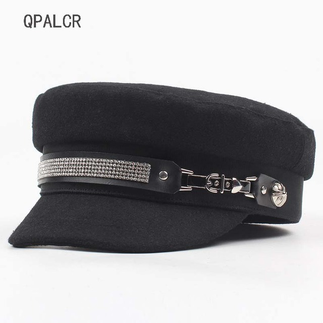d05c72373a6 QPALCR Winter Military Hats For Women Casual Rhinestone Chain Flat Top Hat  British Army Cap Female Navy Cap Literary Painter Hat