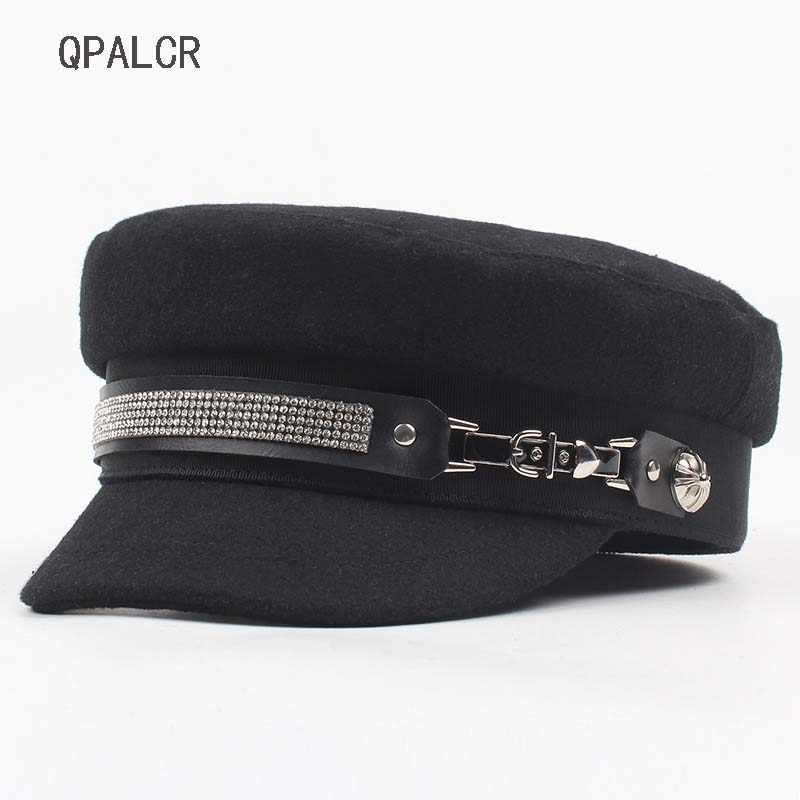 QPALCR Winter Military Hats For Women Casual Rhinestone Chain Flat Top Hat  British Army Cap Female Navy Cap Literary Painter Hat