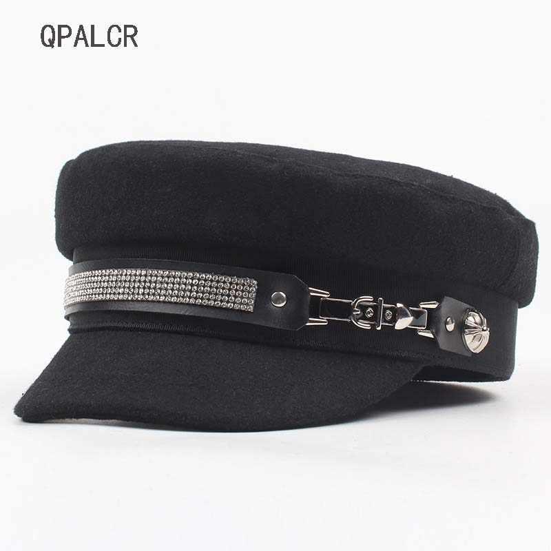 d7222de61d6231 QPALCR Winter Military Hats For Women Casual Rhinestone Chain Flat Top Hat  British Army Cap Female
