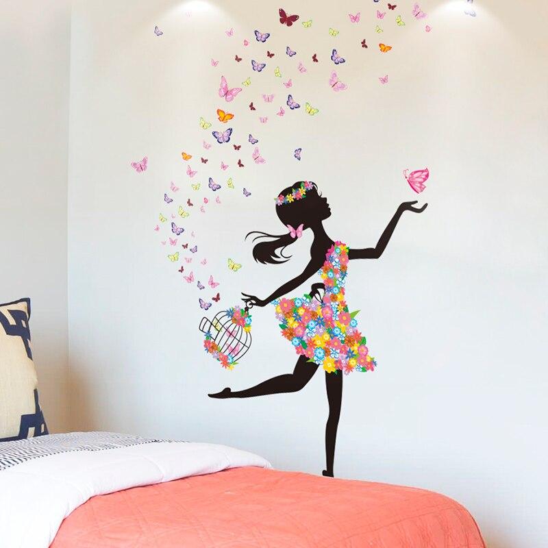 [SHIJUEHEZI] Cartoon Fairy Girl Wall Stickers DIY Butterflies Birdcage Wall Decor For Kids Rooms Baby Bedroom Decoration