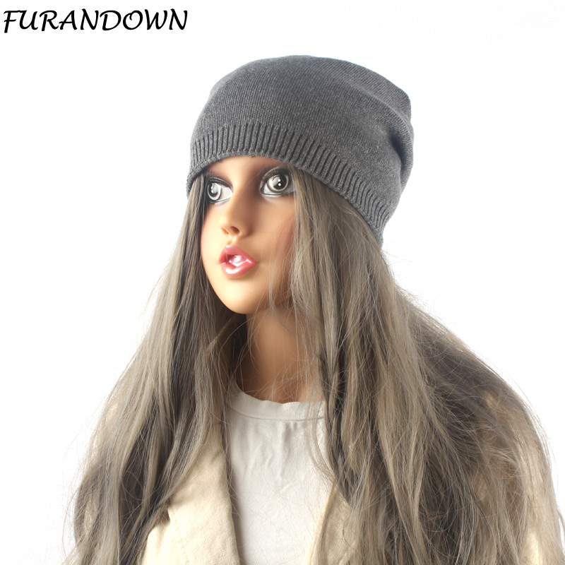 2018 Winter Hats For Women Solid Color Wool Knitted   Beanie     Skullies   Female Casual Brand Women's Cap