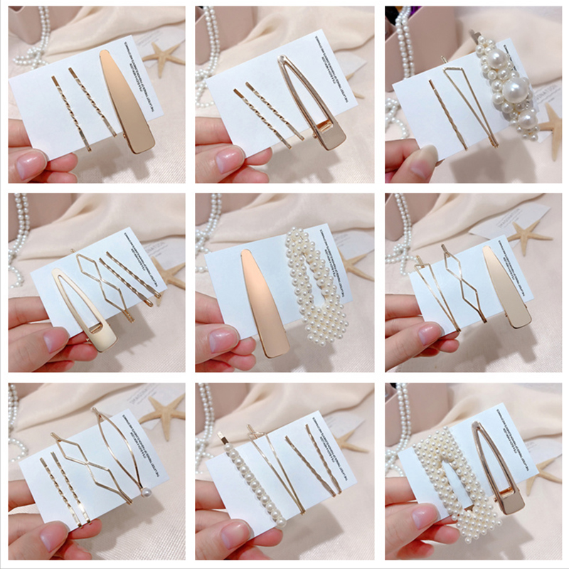 3Pcs / Set Metal Pearl Hair Clip Hairband Comb Bobby Pin Barrette Hairpin Headdress Accessories Beauty Styling Tools New Arrival