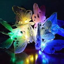 12 Led Solar Powered Butterfly Fiber Optic Fairy String Outdoor Garden Lights