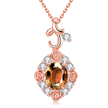 Fashion Women Wedding Jewelry Gold/Silver/Rose Gold Plated Colorful Cubic Zircon Austrian Crystal Rose Flower Pendants Necklaces