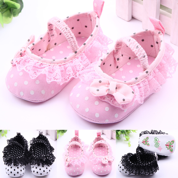 Classic Children Baby Kids Boy Girl Lace Butterfly Knot Dot Floor Shoes Autumn Fashion Non-Slip Soft Toddlers First Walkers