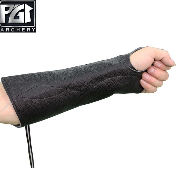 PG1ARCHERY Archery Arm Guard for Bow Hunting, Unisex Leather Arm Hand Protector Bracer Glove Adjustable Protective Gear