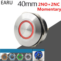 40MM 2NO 2NC Stainless Steel Metal Momentary Waterproof Doorbell Bell Horn LED Push Button Switch Car