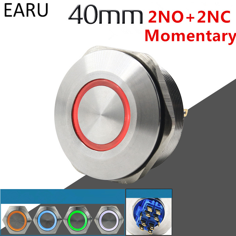 40MM 2NO 2NC Stainless Steel Metal Momentary Waterproof Doorbell Bell Horn LED Push Button Switch Car Auto Engine Start PC Power 19mm 22mm pattern 2no 2nc waterproof stainless steel waterproof metal latching emergency stop push button switch button switch