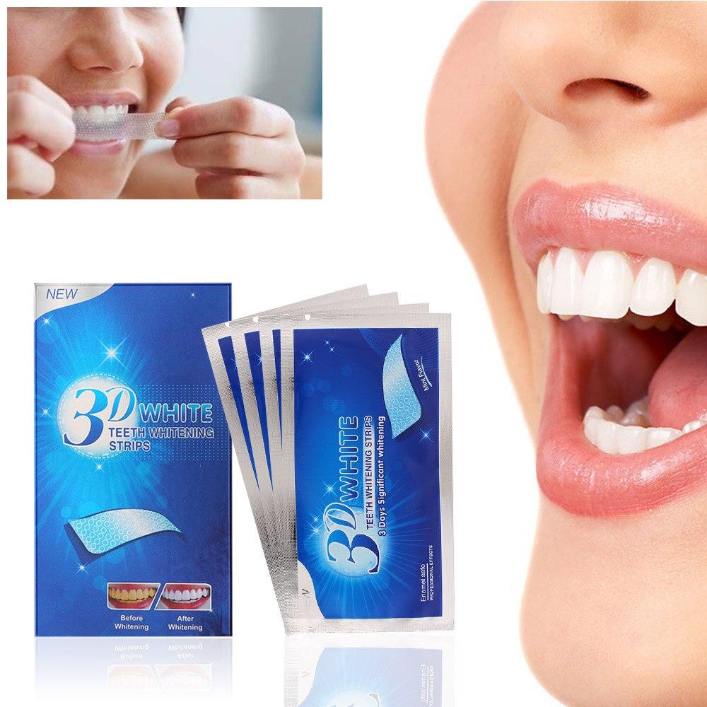 14 Par 3d Dentes Gel Branco Tiras De Clareamento Dos Dentes Kit De