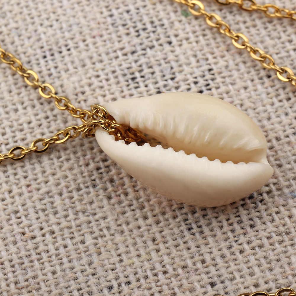 FINE4U N177 nowy Bohemia wielu warstwa naturalny morze powłoki wisiorek naszyjnik łańcuch ze stali nierdzewnej naszyjniki lato plaża biżuteria
