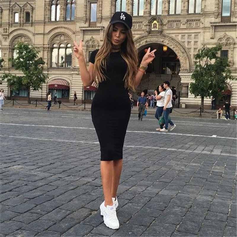 Frauen Kleid Vestido Sommer Kurze Oder Lange Hülse Dünne Bodycon Kleid Tunika Rundhals Casual Bleistift Kleid 2019 S-XL WDC1475