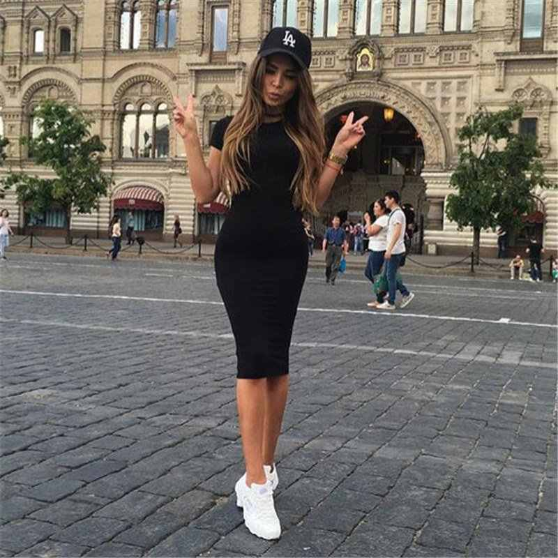 여자 드레스 Vestido 여름 짧은 또는 긴 소매 슬림 Bodycon 드레스 튜닉 라운드 넥 캐주얼 연필 드레스 2019 S-XL WDC1475