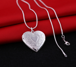 Romantic 1mm snake 18inch silver picture frame charm Heart Locket photo pendant Necklace For Women Jewelry Valentine Lover Gift
