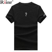 Riinr 2018 أزياء وصول جديدة الرجال تي شيرت الصيف جودة عالية عارضة سؤال علامة بسيطة قصيرة الأكمام س الرقبة الرجال القمصان