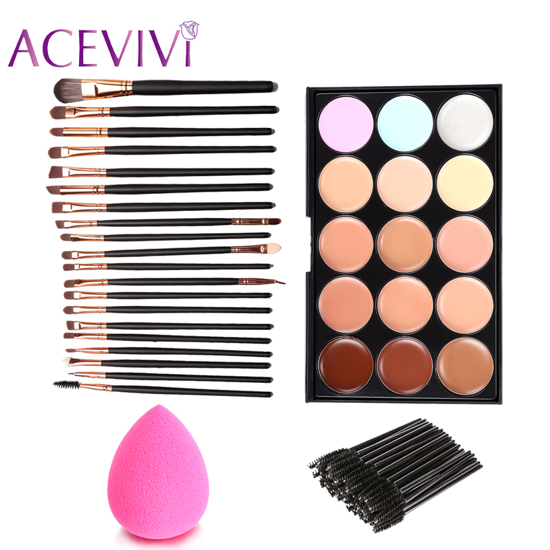 New Women Face Care Cosmetic Makeup Set 15 Colors Face Cream Concealer Palette +70pcs Brushes +Face Power Puff Sponge Makeup $5k candy color calabash shaped cosmetic makeup cotton pads sponge puff pink