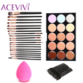 New Women Face Care Cosmetic Makeup Set 15 Colors Face Cream Concealer Palette +70pcs Brushes +Face Power Puff Sponge Makeup $5k