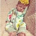 Modelos de explosão Jardim flores de impressão de Algodão Do Bebê Meninos meninas zipper manga comprida Macacão Macacão sleepwear