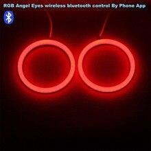 RGB Ангельские глазки хлопок светодиодные DRL Беспроводной контроллер Bluetooth для Фары для автомобиля туман лампы мотоцикл свет-одна пара