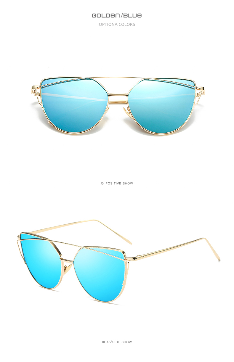 2019 Fashion Cat Eye Vintage Rose Gold Mirror Woman's Sunglasses Metal Reflective Flat Lens Tourism Sunglasses Multi-color style