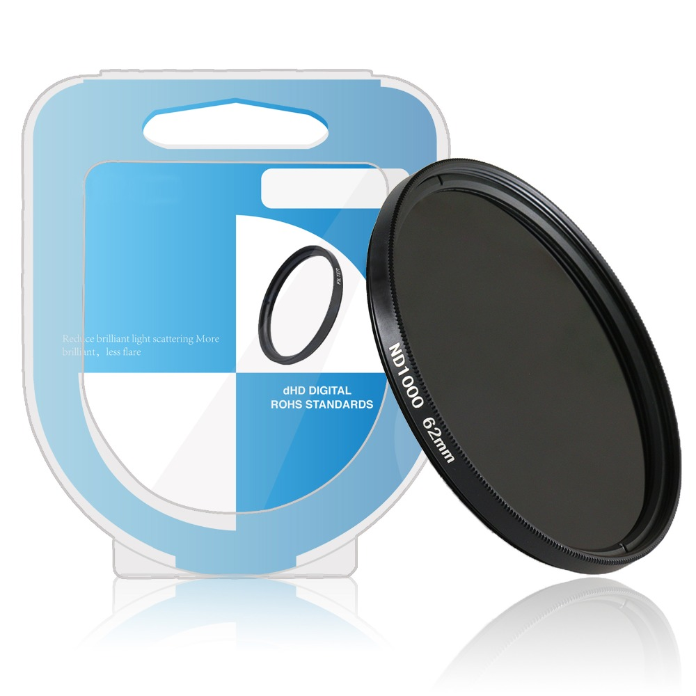 49 52 55 <font><b>58</b></font> 62 67 72 77mm ND 1000 Neutral Density Photography filter for canon nikon DSLR Camera with box image