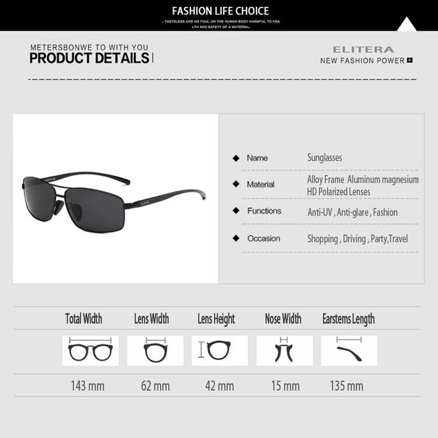 ELITERA Aluminum Magnesium Brand New Polarized Men's Sunglasses 3 Color Sun Glasses Men Driving Goggle Eyewear Accessories