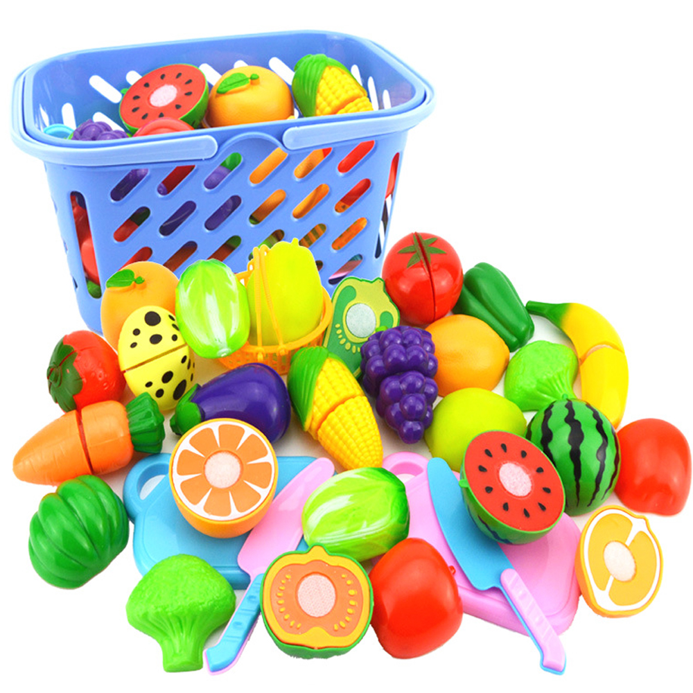 23pcs/set Cutting Fruit And Vegetable Toys Pretend Play Children Kitchen Toys Plastic Miniature Food For Dolls Kids Gifts