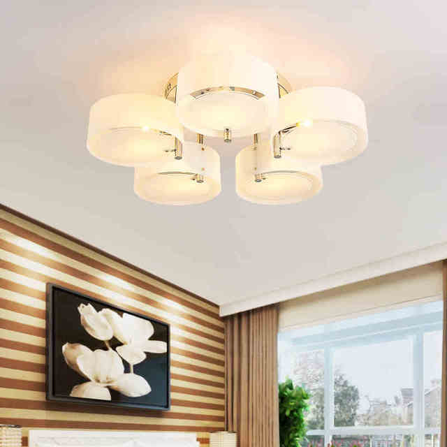 moderne acrylique rond cercle led plafonnier cuisine luminaires pour salon chambre lustre. Black Bedroom Furniture Sets. Home Design Ideas