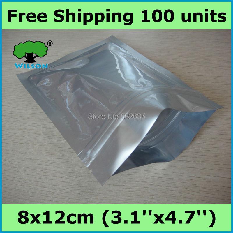 100 -1000 pcs Wholesale Price 8x12cm 4.5 mils aluminum foil zip lock bag matte silver zipper for long term food storage