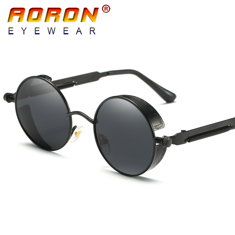 ec9017a5be AORON Brand Men Polarized Sunglasses Gothic Steampunk Coating Mirrored Round  Circle Sun Glasses Retro UV400 Vintage Eyewear 2018-in Sunglasses from  Apparel ...