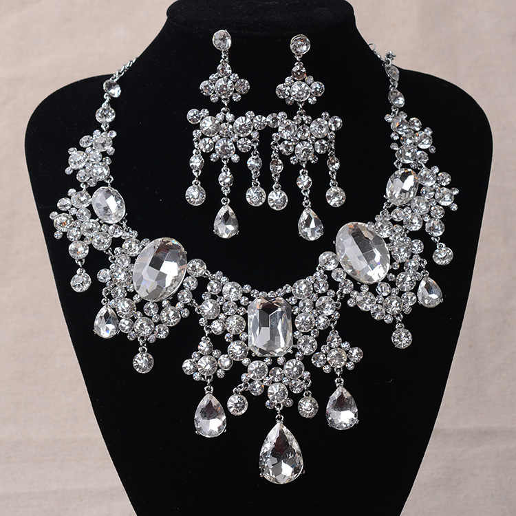 African Beads Jewelry Sets Big Rhinestone Water Drop Statement Necklace Earrings Set Classic Indian Crystal Bridal Jewelry Set