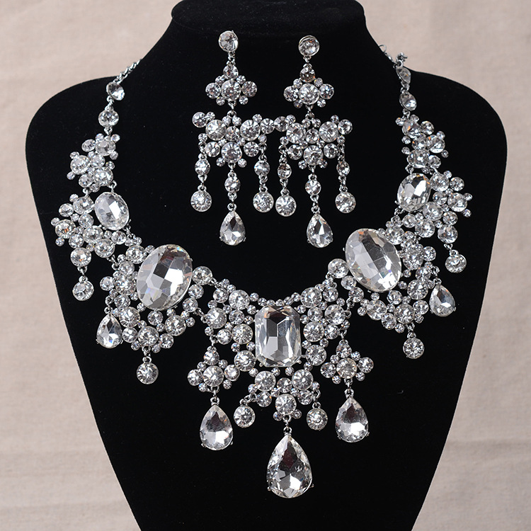 African Beads Jewelry Sets Big Rhinestone Water Drop Statement Necklace Earrings Set Classic Indian Crystal Bridal Jewelry Set luxury rhinestone bridal necklace earrings set crystal ab color aurora color evening party jewelry set drop water flower style