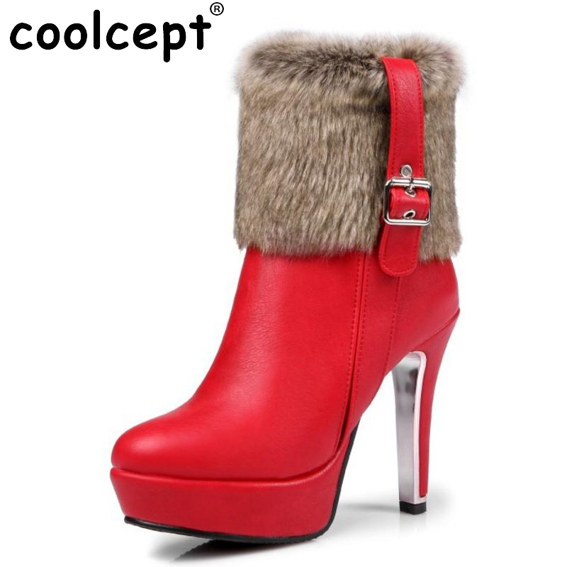 Women Brand Platform Round Toe Ankle Boots Sexy Woman High Heel Shoes Ladies Fashion Zipper Winter Botas Mujer Size 30-48 ...
